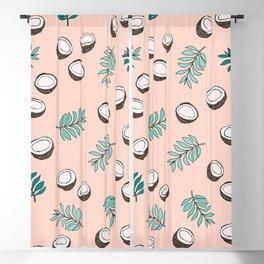 Little coconut garden summer surf palm leaves pink Blackout Curtain