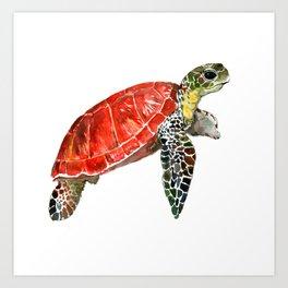 Sea Turtle red green turtle design, trutle illustration Art Print