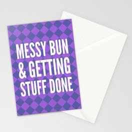Messy Bun & Getting Stuff Done (Purple Checkered Pattern) Stationery Cards