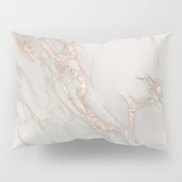 Marble Rose Gold Blush Pink Metallic by Nature Magick Pillow Sham