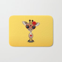 Red and Yellow Day of the Dead Sugar Skull Baby Giraffe Bath Mat