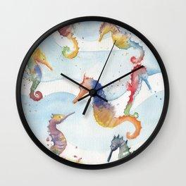 Colorful Seahorses Wall Clock