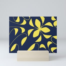 Leafy Vines Yellow and Navy Blue Mini Art Print