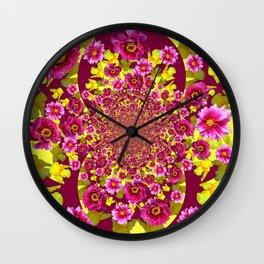 MODERN FUCHSIA & YELLOW FLORALS  ART Wall Clock