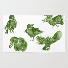 Happy Crows - Moss Green Rug