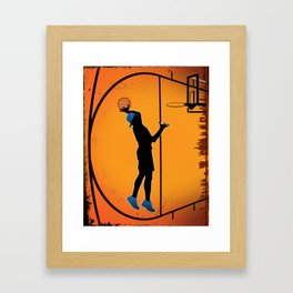 Basketball Player Silhouette Framed Art Print