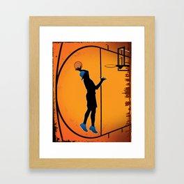 Basketball Player Silhouette Framed Art Print