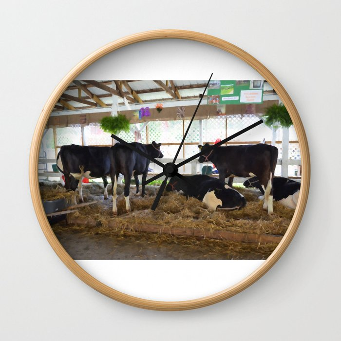 Black and white cow 2 Wall Clock