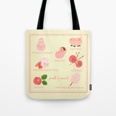 Colors: pink (Los colores: rosa) Tote Bag