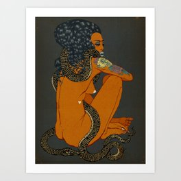 Woman with Snake (Black) 2019. Art Print