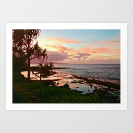 Sunset in Paia Art Print