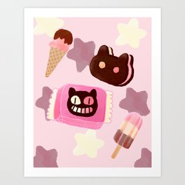 Cookie Cat! He left his family behind! Art Print