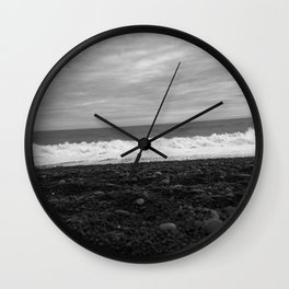 Beach in black and white Wall Clock