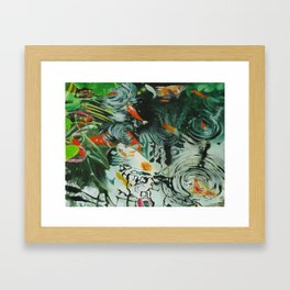 Carp and lilies Framed Art Print