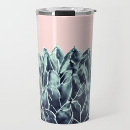 Blush Navy Blue Agave Chic #1 #succulent #decor #art #society6 Travel Mug