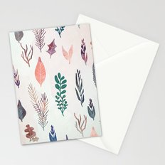 Mix of plants and watercolor leaves Stationery Cards