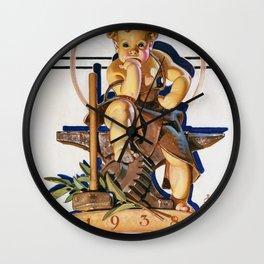 Joseph Christian Leyendecker - New Year Baby 1938 - Digital Remastered Edition Wall Clock