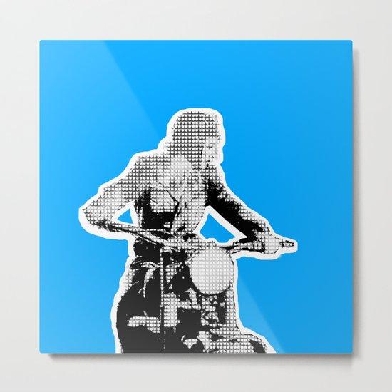 Blue Riding Lady Metal Print