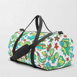 A pattern of fancy bizarre sea creatures. Style Doodle. Vector illustration. Duffle Bag