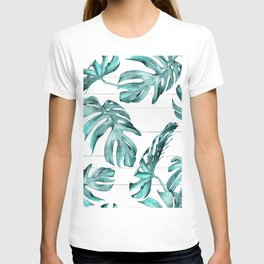 Turquoise Palm Leaves on White Wood T-shirt