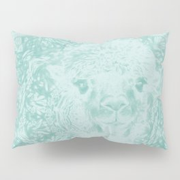 Happy Ghostly alpaca and mandala in Limpet Shell Blue Pillow Sham