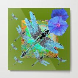 BLUE DRAGONFLIES MORNING GLORY GREEN ART Metal Print