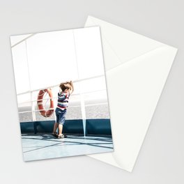 Child staring at the sea Stationery Cards