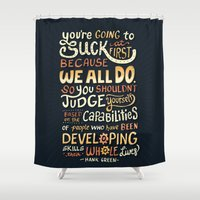 risa rodil Shower Curtains featuring Don't Be Afraid To Suck by Risa Rodil