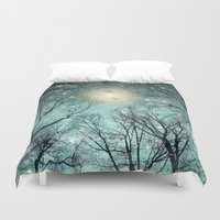fault Duvet Covers featuring Nature Blazes Before Your Eyes (Mint Embers) by soaring anchor designs