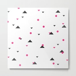 Triangle Explosion - Pink and Black Metal Print
