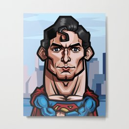 Christopher Reeve, The Superman Caricature Metal Print