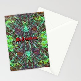 Red Green Stained Glass Multicolor Pattern  Stationery Cards