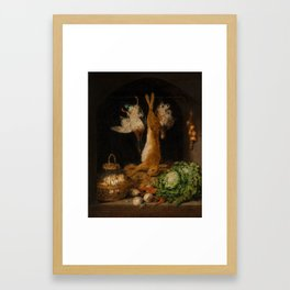 Benjamin Blake (1757-1830) Still life in a larder, with game, eggs, and vegetables Framed Art Print