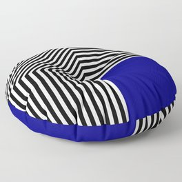Geometric abstraction, black and white stripes, blue square Floor Pillow