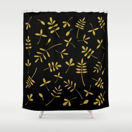 Gold Leaves Design on Black Shower Curtain