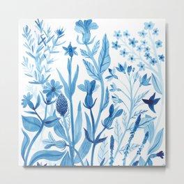 Blue Wildflowers Metal Print