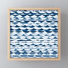 Glitch Waves - Classic Blue Framed Mini Art Print