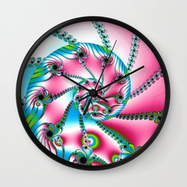 Pink Blue and Green Fractal Wall Clock