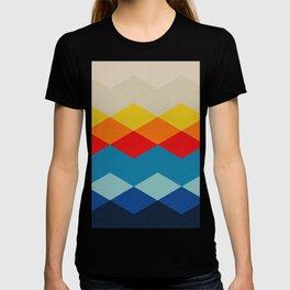 Abstract argyle pattern, mountain landscape - white, beige, yellow, orange, red, blue, sky blue, deep blue, marine blue, black T-shirt