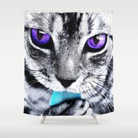 thundercats Shower Curtains featuring Purple eyes Cat by Augustinet
