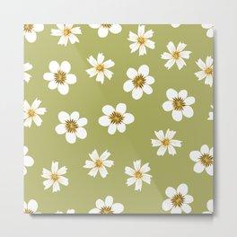white flowers on green Metal Print