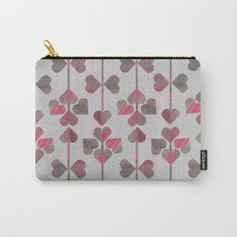 Pink and Gray Hearts Carry-All Pouch