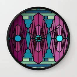 Art Deco Royal Ruby Stained Glass Pattern Wall Clock
