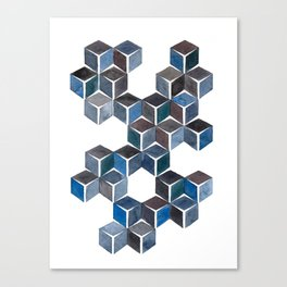 Monochromatic Dark Cubes Canvas Print
