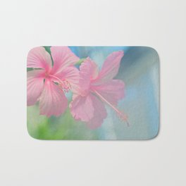 Tender macro shoot of pink hibiscus flowers Bath Mat