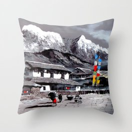 Panoramic View Of Everest Base Camp Throw Pillow