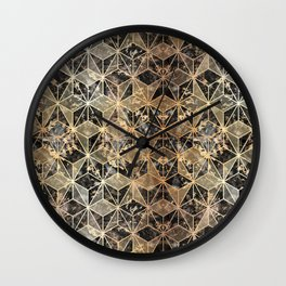 Gold Marble Geometric Wall Clock