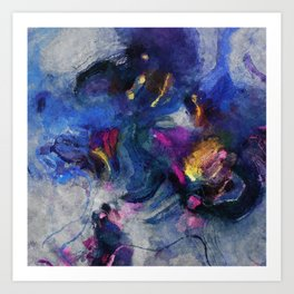 Contemporary Abstract Art in Blue and Yellow Art Print