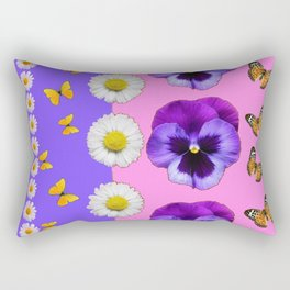 PINK-LILAC & PURPLE PANSY DAISY SPRING FLOWERS Rectangular Pillow