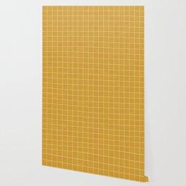 Small Grid Pattern - Mustard Yellow Wallpaper